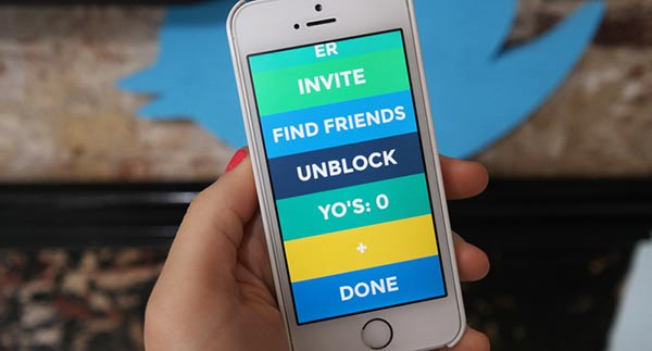 The Yo app on an Apple iPhone