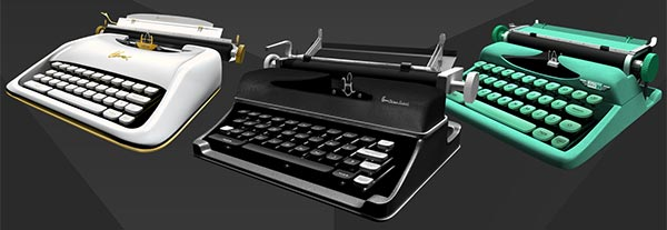 Some 3D modelled classic typewriters in the app