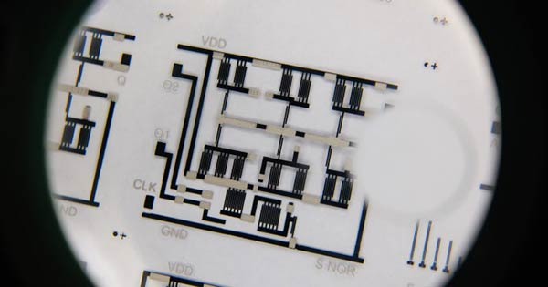 Printed flexible electronic circuit close-up