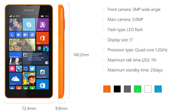 Microsoft Lumia 535, base specifications