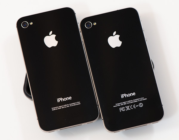 Phone 4 without FCC logos on left, iPhone 4 with FCC logos on right